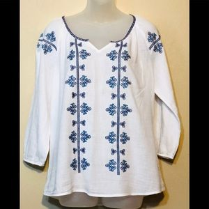 Maurices embroidered linen blouse, size L